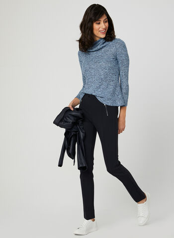 Knit Cowl Neck Top, Blue, hi-res