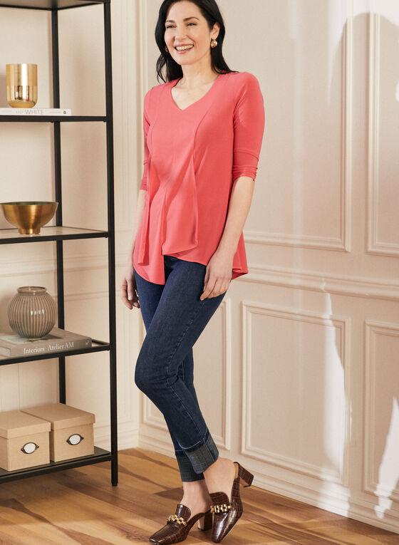Jeans à jambe étroite et ourlet retroussé , Bleu