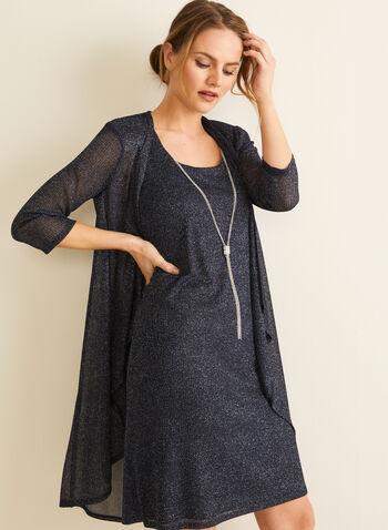 Glitter Dress & Cardigan Set, Blue,  spring summer 2020, dress, cardigan set, metallic fibres, scoop neck, cascading open front, build-in shoulder pads, 3/4 sleeves