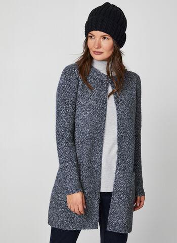 Knit Open Front Cardigan, Blue,  cardigan, open front, knit, knitwear, yarn, textured, lightweight,long sleeves, fall 2019, winter 2019