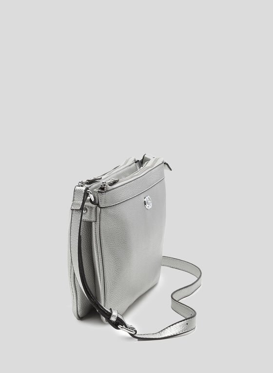 Double Zip Crossbody Bag, Silver, hi-res