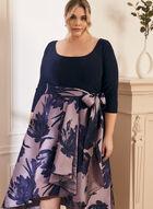Jersey & Taffeta Dress, Blue