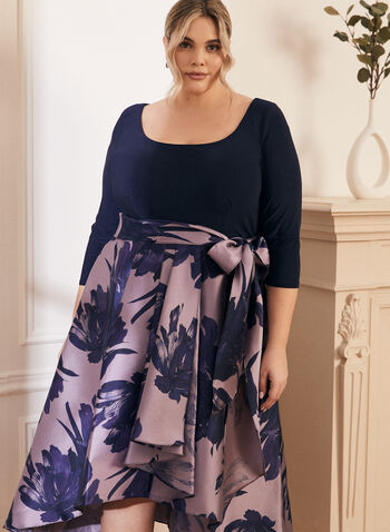 Jersey & Taffeta Dress, Blue,  evening dress, taffeta, floral, jersey, bow, fall winter 2020