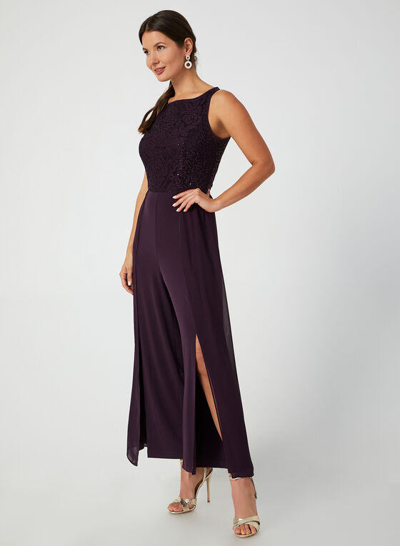 Jumpsuit With Lace & Sequins, Purple