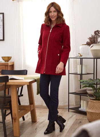 Stretch Faux Wool Hooded Coat, Red,  fall 2021, laura exclusive, collar, lapel collar, shirt collar, hood, long sleeve, coat, outerwear, stretch, faux wool, wool blend, front zip, zip front, structured, princess, pockets, satin lining, warm