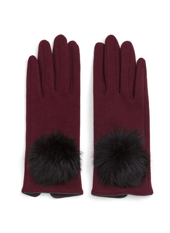 Fur Pom Pom Gloves, Red, hi-res