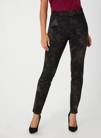 Slim Leg Floral Print Pants, Black,  canada, pants, slim leg pants, ponte de roma, slim leg, modern fit, printed pants, floral print, leaf print, comfortable, stretchy pants, fall 2019, winter 2019