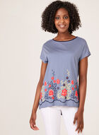 Stripe Print T-Shirt With Floral Appliqué, Blue, hi-res