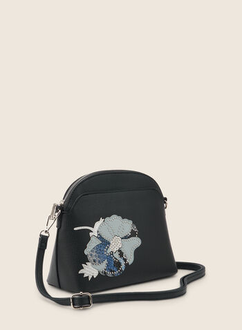 Floral Appliqué Crossbody Bag, Blue,  bag, crossbody, flower, appliqué, rhinestones, faux leather, strap, round, spring summer 2020