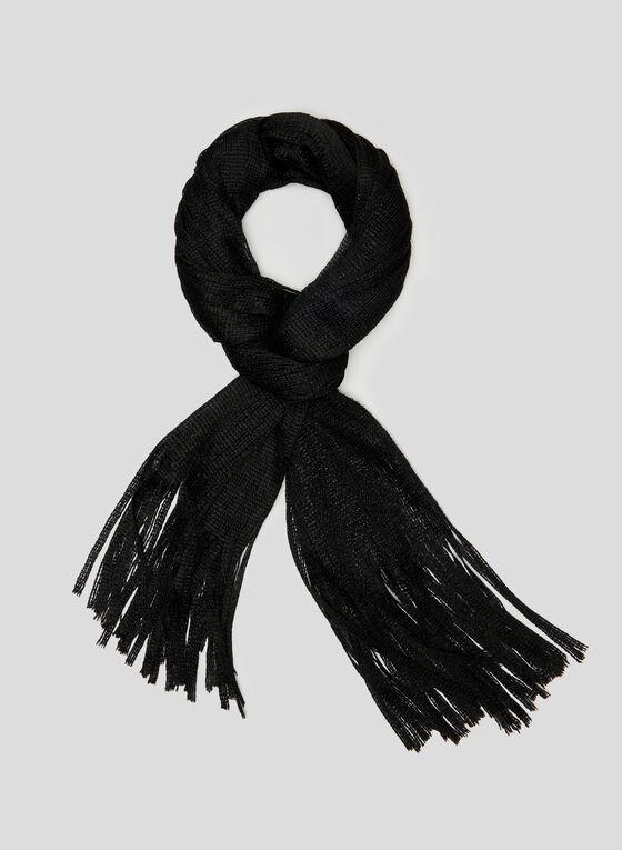 Knit Fringe Scarf, Black, hi-res