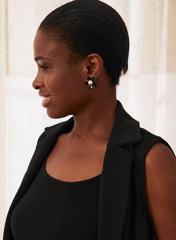 Sleeveless Open Front Jacket, Black