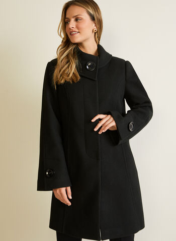 Stretch Faux Wool Coat, Black,  fall winter 2020, coat, stretchy, wool, envelope collar, large button, detail, accent, princess seam, fit, flare, pocket, stretch, warm, winter, long sleeve