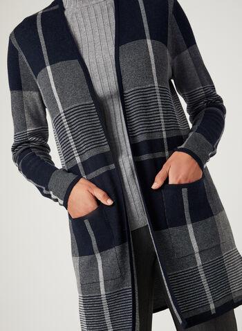 Plaid Jacquard Knit Cardigan, Blue, hi-res