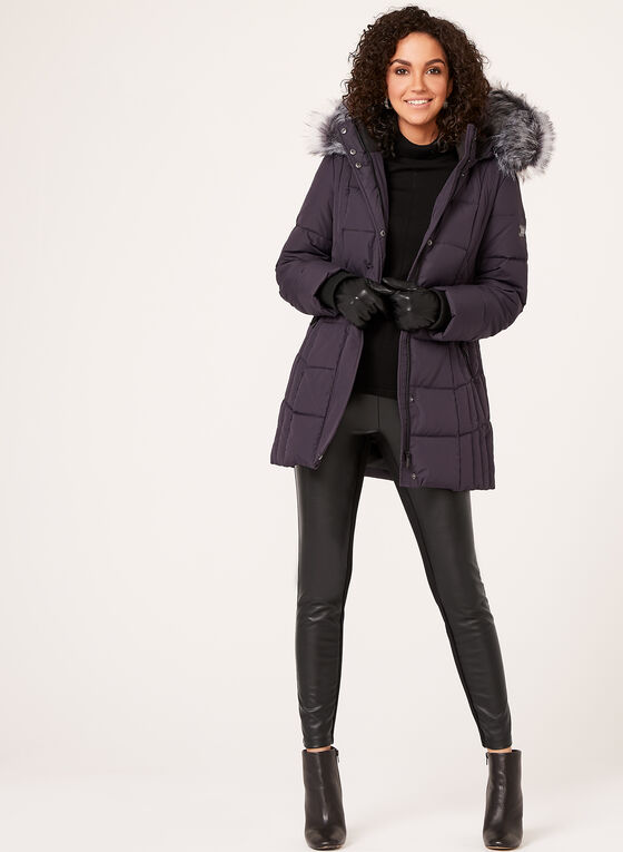 Novelti - Removable Faux Fur Trim Down Coat  , Purple, hi-res