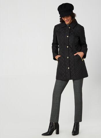 Anne Klein - Diamond Quilt Coat, Black, hi-res,  coat, lined, metallic zipper, pockets, quilt, quilted, hood, fall 2019, winter 2019