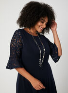 Fit & Flare Lace Sleeve Dress, Blue
