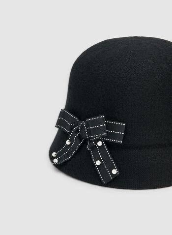 Chapeau cloche à détail nœud, Noir, hi-res,  chapeau, cloche, nœud, perles, laine, automne hiver 2019