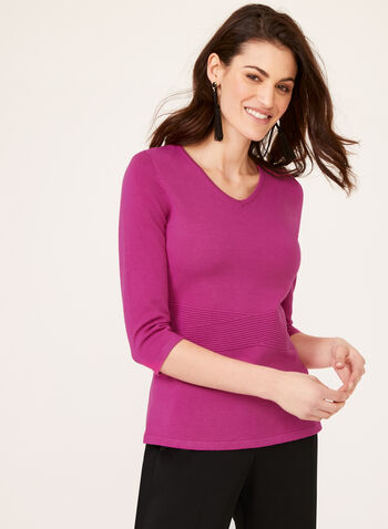 Ottoman Detail Knit Sweater, Pink, hi-res