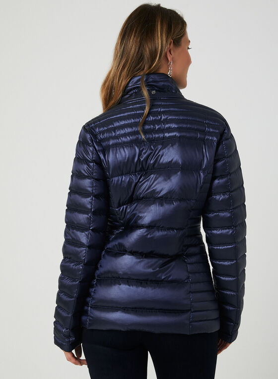 Packable Quilted Down Coat, Blue