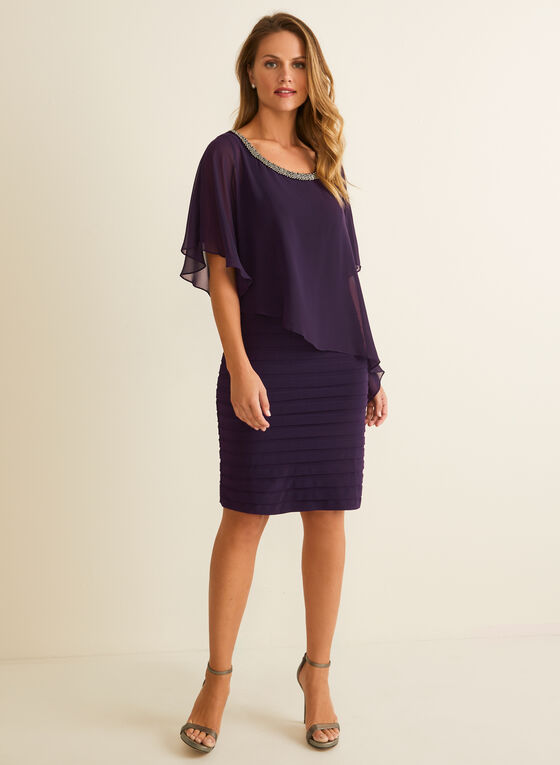 Beaded Detail Poncho Dress, Purple