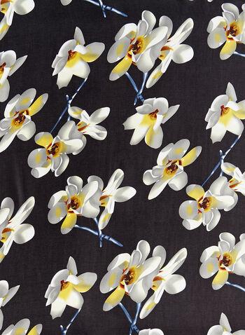 Silky Floral Print Scarf, Black, hi-res