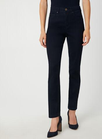 Jeans coupe signature à jambe droite, Bleu, hi-res,  jeans, signature, jambe droite, automne hiver 2019