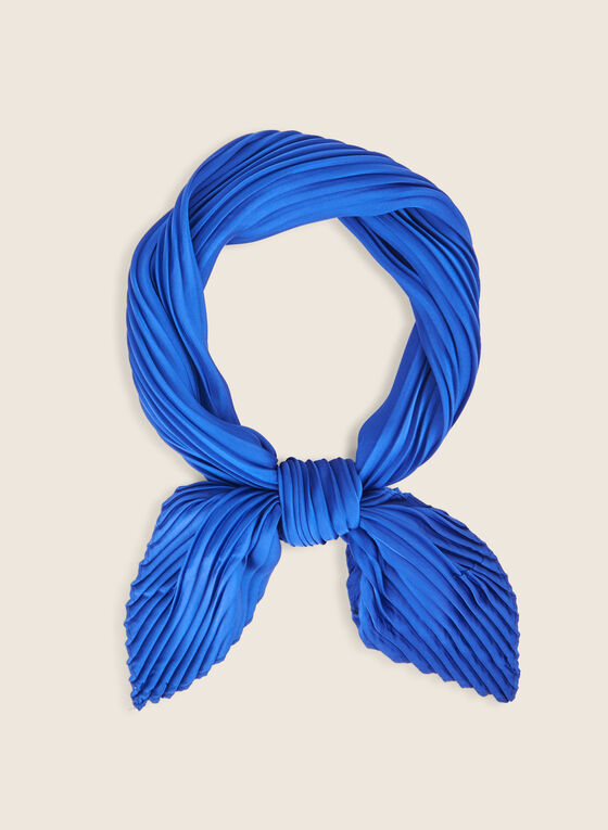 Pleated Lightweight Scarf, Blue