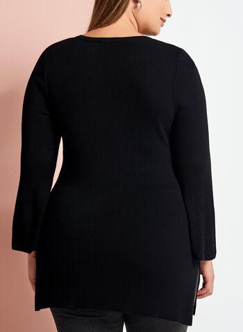 Pull tunique en tricot à col lacé, Noir, hi-res
