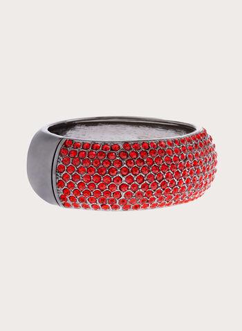 Crystal Encrusted Metallic Bangle, Red, hi-res