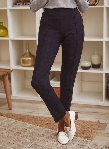 Pantalon à enfiler à motif tartan, Rouge,  automne hiver 2021, pantalons, jambe étroite, pull on, modèle à enfiler, motif, imprimé, tartan, carreaux