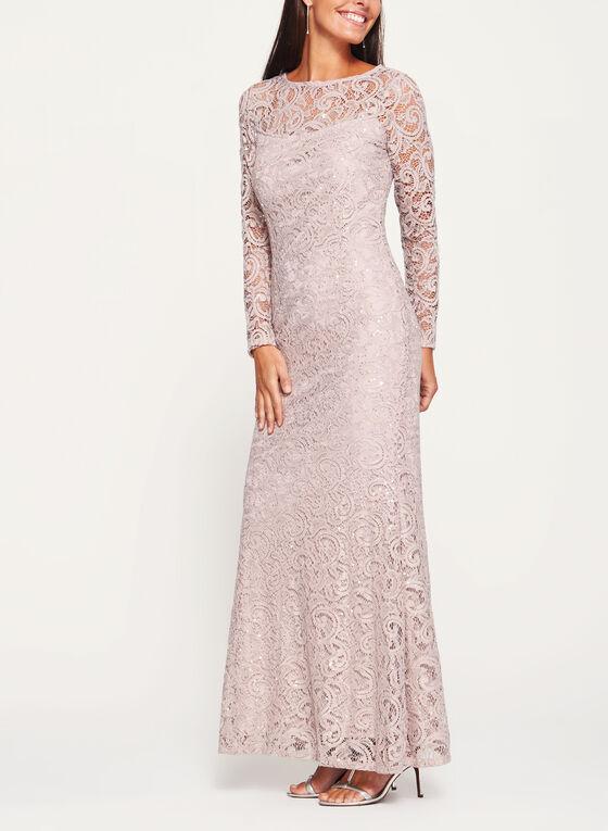 Marina - Long Sleeve Sequin Lace Dress, Brown, hi-res