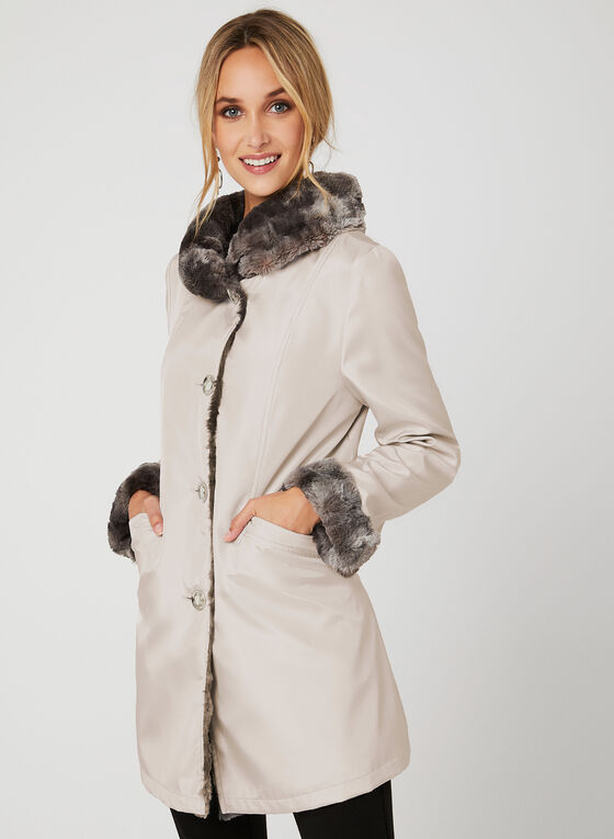 Reversible A-Line Coat, Off White, hi-res