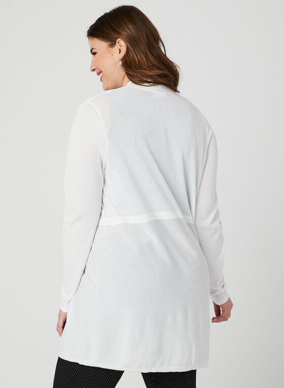 Cardigan ouvert en tricot fin, Blanc, hi-res