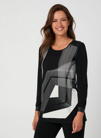 Blouse à motif géométrique, Noir, hi-res,  haut, manches longues, géométrique, similicuir, zip, automne hiver 2019