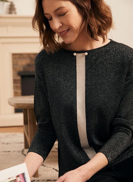 Rhinestone Stripe Metallic Knit Sweater, Black