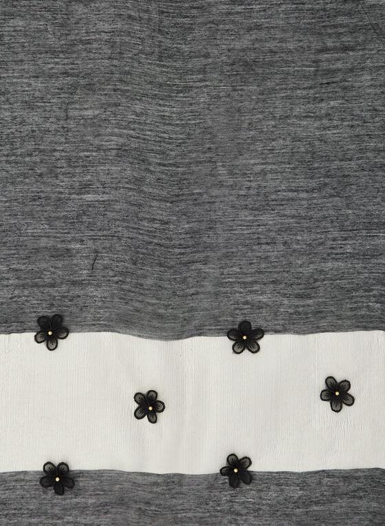 Châle léger à appliqués floraux, Noir