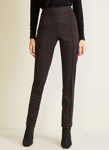 Tartan Print Slim Leg Pants, Red,  fall winter 2020, pants, slim leg, tartan, pleats
