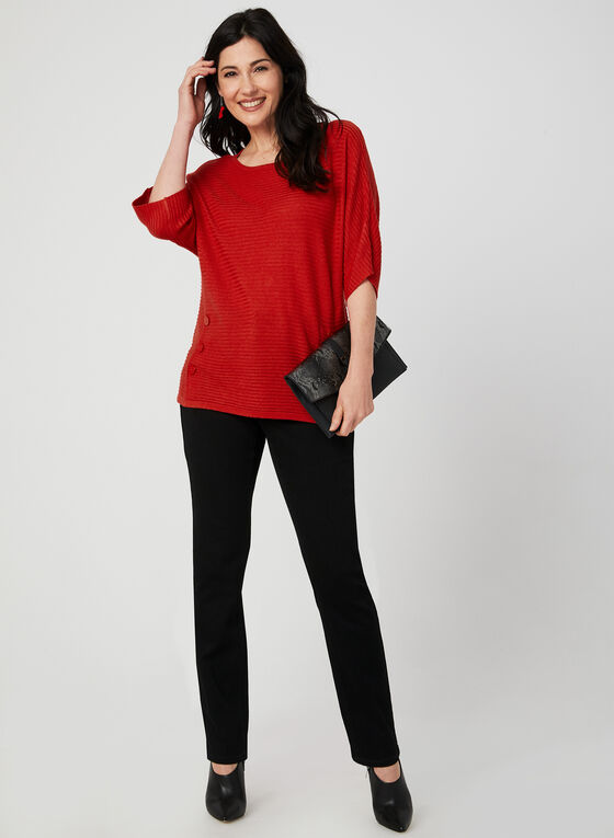Dolman Sleeve Knit Top, Orange, hi-res