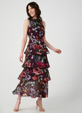 Floral Print Tiered Maxi Dress, Purple, hi-res,  long dress, flowy dress