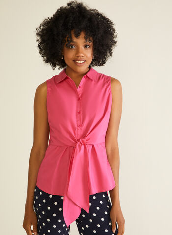 Sleeveless Knot Detail Blouse, Pink,  blouse, shirt collar, button front, knot, cotton blend, spring summer 2020