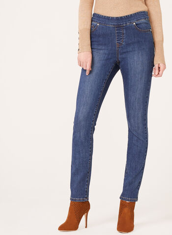 Modern Fit Pull-On Slim Leg Jeans, Blue, hi-res