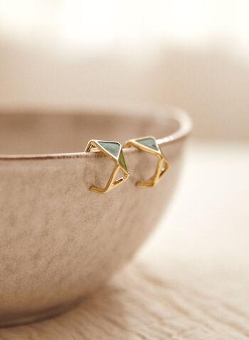 Boucles d'oreilles à facettes, Vert,  boucles d'oreilles, accessoire, bijou, géométriques, facettes, doré, tige, automne 2021