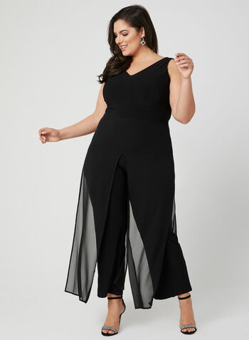 Wide Leg Chiffon Jumpsuit, Black, hi-res