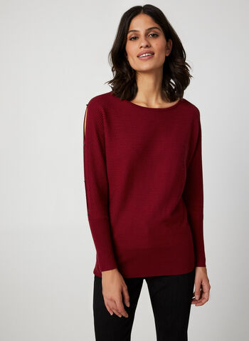 Dolman Sleeve Sweater, Red,  sweater, knit, dolman sleeves, ribbed, fall 2019, winter 2019