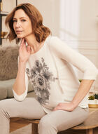 Floral Print Chiffon Overlay Top, White