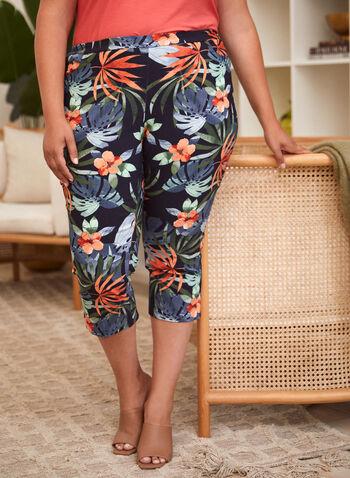 Capri à enfiler à motif floral, Bleu,  pantalon, capri, bas, fait au canada, à enfiler, jambe étroite, motif, floral, fleuri, printemps été 2021