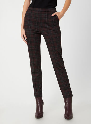 Plaid City Fit Pants, Black,  pants, City Fit, slim leg, plaid, pull on, Ponte de Roma, fall 2019, winter 2019