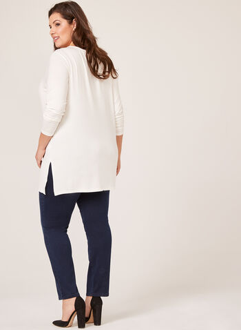 Long Sleeve V-Neck Knit Top, Off White, hi-res