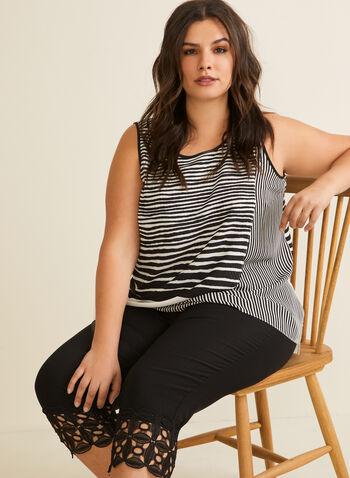 Striped Asymmetric Blouse, White,  top, blouse, sleeveless, striped, asymmetric, crepe, spring summer 2020