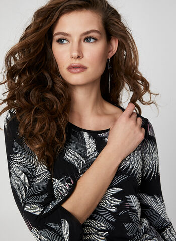 Textured Leaf Print Top, Black,  Canada, jersey, top, leaf print, tulip sleeves, 3/4 sleeves, fall 2019, winter 2019